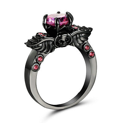 Size 9 Women's Pink Sapphire Engagement & Wedding Ring 10Kt  Black Gold Filled