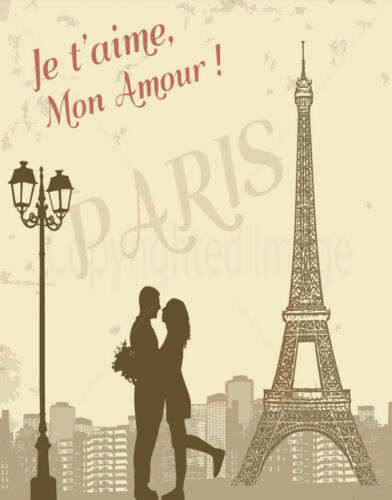 MON AMOUR PARIS  METAL TIN SIGN POSTER WALL PLAQUE