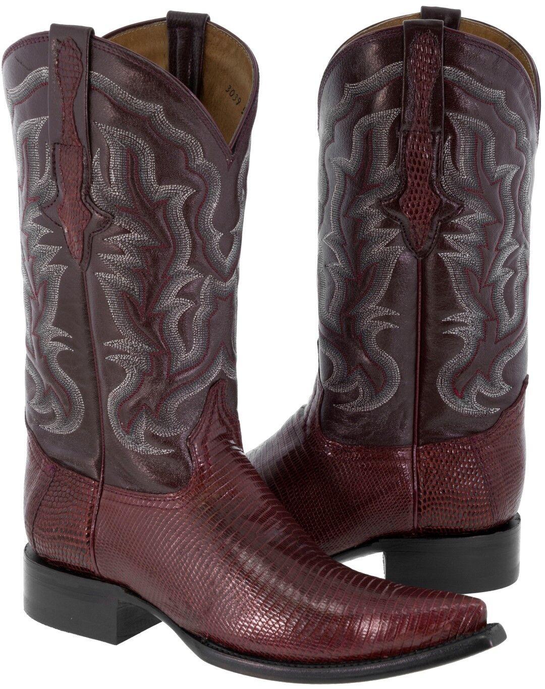 Para hombres Genuino Piel De Lagarto botas Cowboy Western Wear Borgoña 3X del dedo del pie
