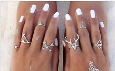 New Hot 7pcs/Set Vintage Anti Silver Rings Moosehead Arrows Lucky Rings Set .