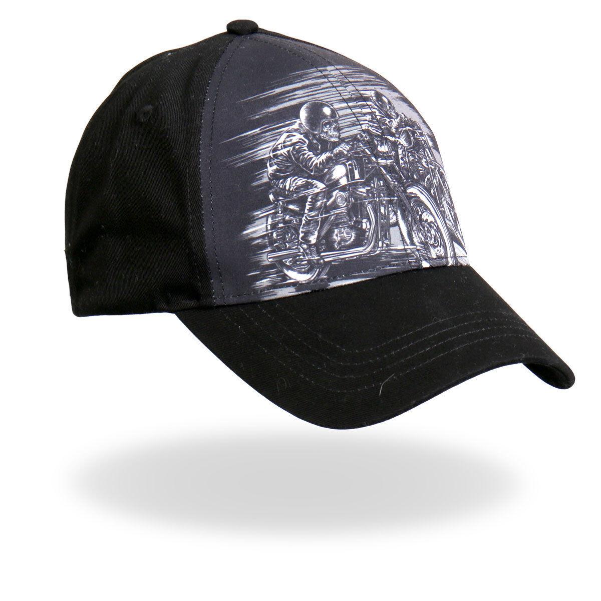 Skull Riders Black Motorcycle Skeletons Riding Fast Black Riders Grey Gray Biker Ball Cap b4e108