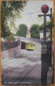 1909-Postcard-Selby-Trolley-Tunnel-St-Paul-Minn-MN