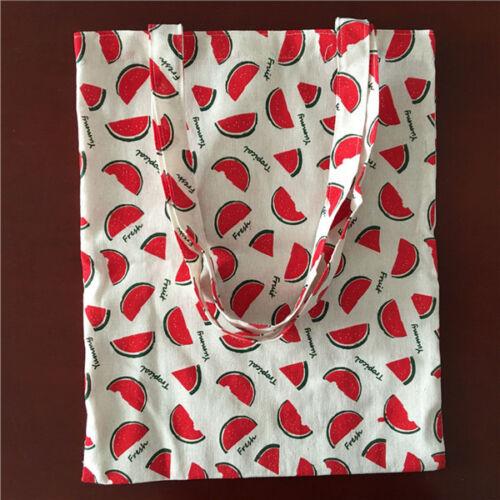 Cotton Linen Eco Shopping Fourre-tout sac bandoulière imprimé pastèque tranche 17410-1 S