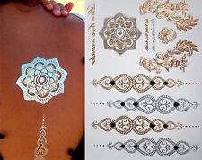 HENNA TEMPORARY TATTOOS METALLIC GOLD & SILVER TATTOO FLASH FLOWERS TRIBAL BOHO