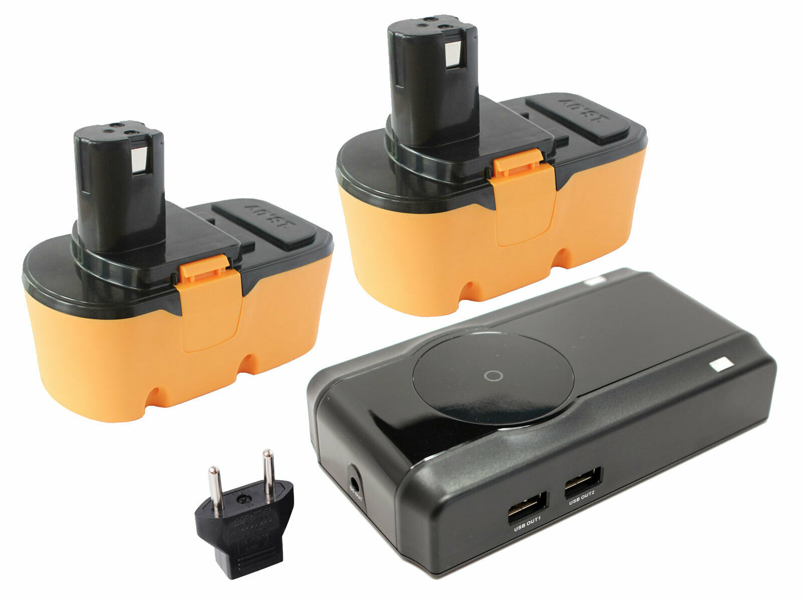 2x Ryobi 18V NICD Battery+Charger w  EU Adapterfor Ryobi p100, p700, p400, p500