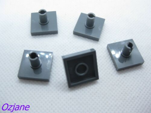 LEGO PART 2460 DARK BLUISH GREY TILE MODIFIED 2 X 2 WITH PIN 5 PIECES