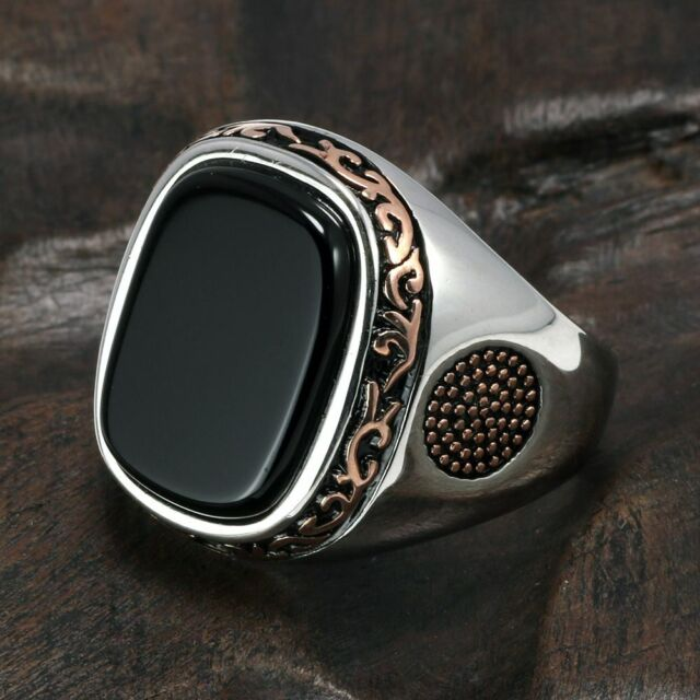 Pure Rings Silver s925 Retro Vintage Rings Men Natural ...