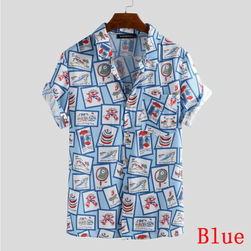 Herren Kurzarm Hawaiian Floral Shirt T-Shirt Bluse Strand Holiday Hemd Top Shirt