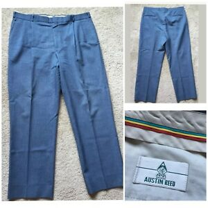 Austin Reed Men S Blue Straight Leg Pleated Front Dress Pants Size 39x30 5 Ebay