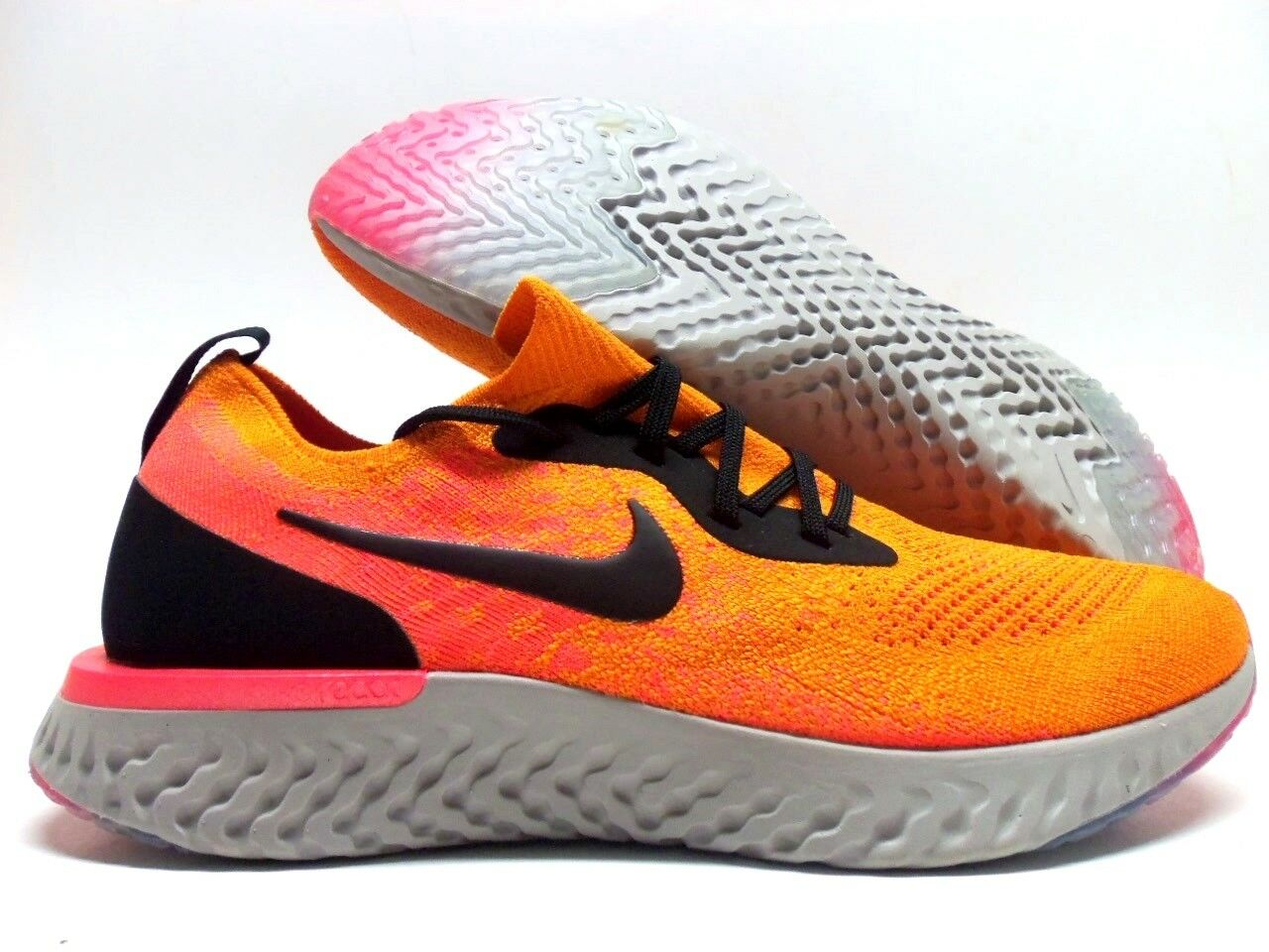 NIKE EPIC REACT FLYKNIT COPPER FLASH BLACK-orange SIZE MEN'S 10 [AQ0067-800]