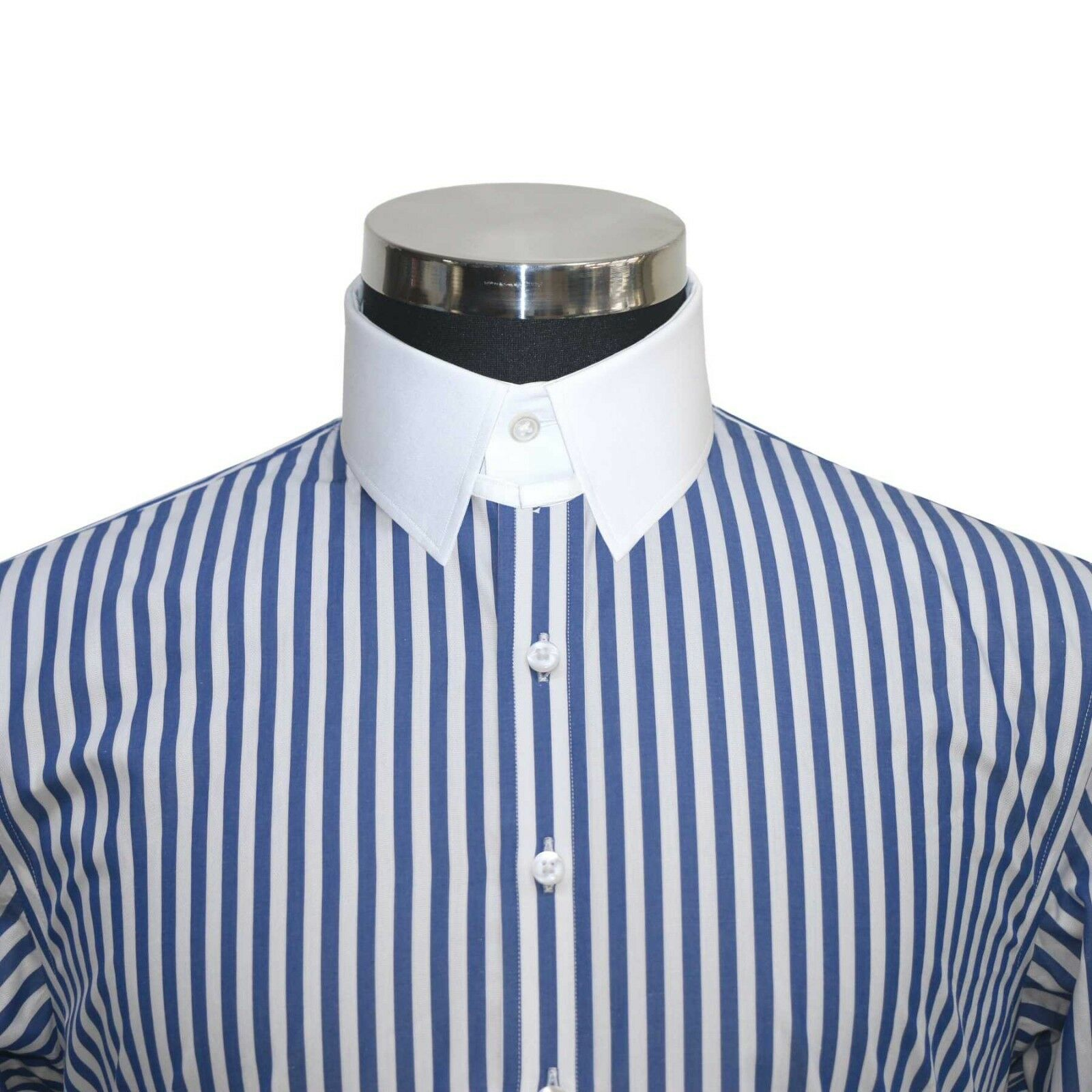 Tab collar  Herren cotton shirt Navy Blau Weiß stripes Loop James Bond collar Gent