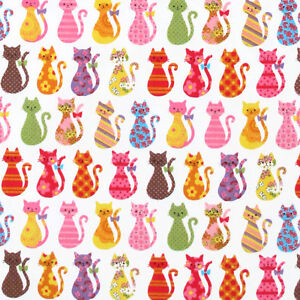 KOKKA-034-COLORFUL-CATS-034-White-Oxford-Cotton-by-the-1-2-yard