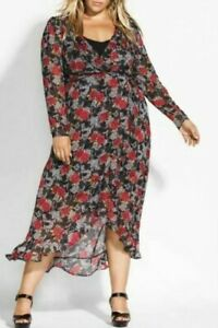 CITY-CHIC-Maxi-Dress-Plus-Size-16-18-20-RRP-149-95-Black-Red-Floral-Hi-Lo-Boho