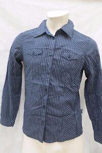 CECIL-Bluse-Hemdbluse-Groesse-38-Schwarz-Lila-Streifen-Baumwolle