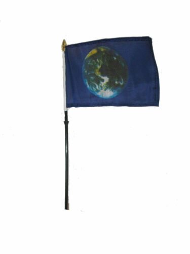"""Wholesale Lot of 12 Planet Earth 4/""""x6/"""" Desk Table Stick Flag"""