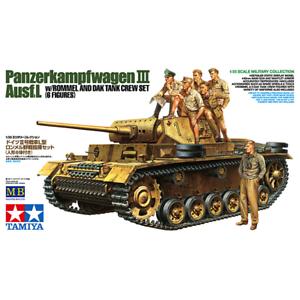 Tamiya 32405 German Panzerkampfwagen III Ausf.L w Rommel &Dak Tank Crew Set 1 35