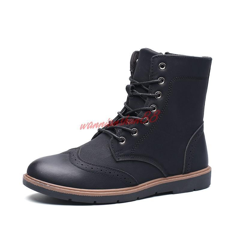 Fashion Mens hight top zip work chukka lace up casual dress ankle boots oxford