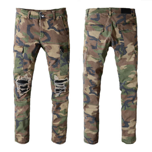 New Italy Men Pop Style Multi Pocket Camo Moto Pants Slim Jeans Trousers AM536C
