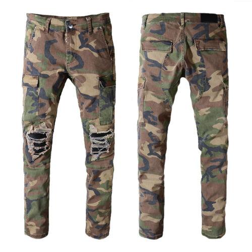New Italy Men Pop Style Multi Pocket Camo Moto Pants Slim Jeans Trousers AM536C