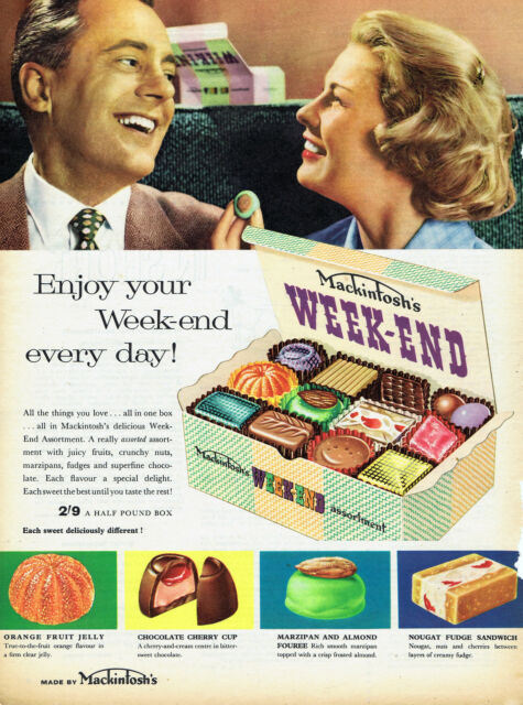 Vintage Confectionery Advertising poster  A4 RE PRINT Week End