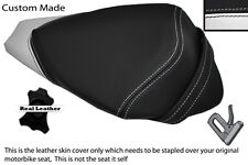 BLACK & WHITE CUSTOM FITS APRILIA RS4 125 11-12 REAR PILLION LEATHER SEAT COVER