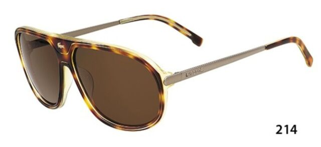 45bbae01ec44 New Lacoste Aviator Sport Sunglasses Model 633 Color 214 Brown Authentic  59-12