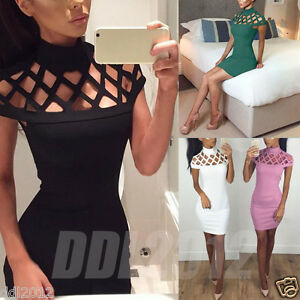 Fashion-Womens-Choker-High-Neck-Bodycon-Ladies-Caged-Sleeves-Party-Mini-Dress