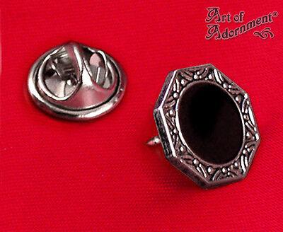 Gothic Art Deco 1920s BLACK SILVER LAPEL PIN Cravat Tie Tack Formal Octagon P01