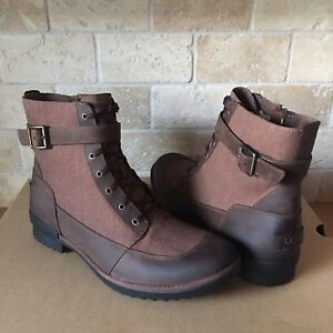 34dbed3804a Details about UGG TULANE COCONUT WATERPROOF LEATHER LACEUP ZIP ANKLE BOOTS  SIZE US 9.5 WOMENS