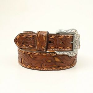 Brown-FILIGREE-Leather-MAN-039-S-WESTERN-BELT-Silver-Buckle-Cowboy-NOCONA-N2414708