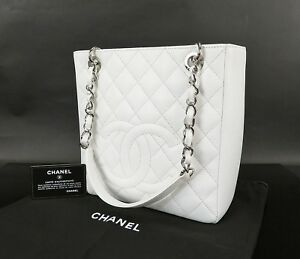 Details About Auth Chanel White Quilted Caviar Skin Leather Silver Chain Shoulder Bag 28309