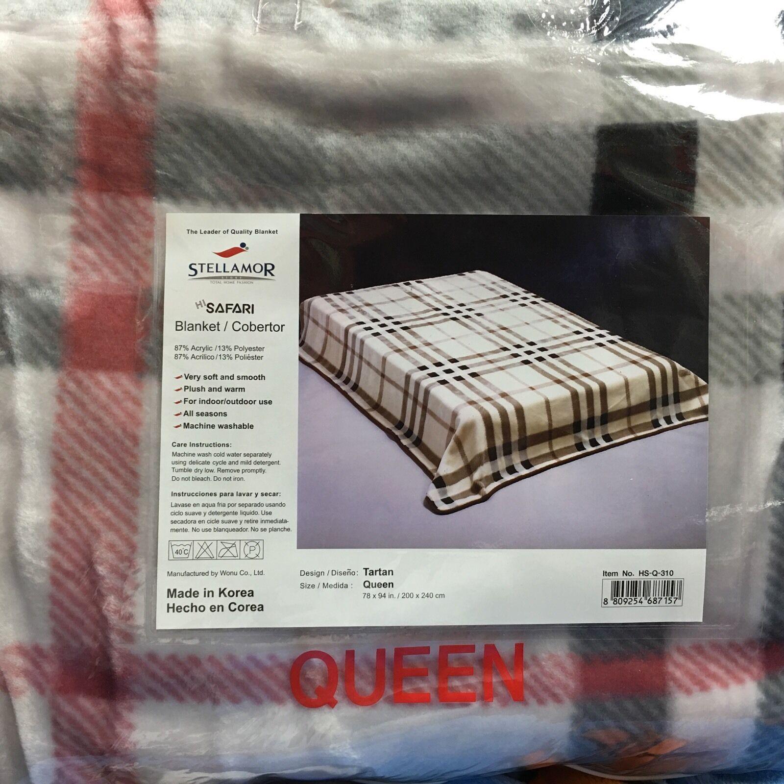 Wonu Hi-Safari Stellamor Original Acrylic Königin Größe Korean TKunstan Plaid Blanket