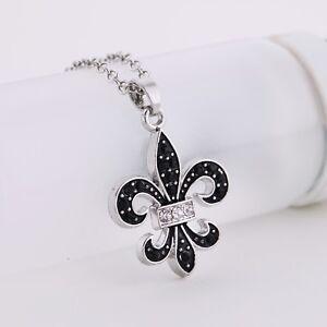 Lily Pendant Necklace French fleur de lis Leather Rope Adjustable Chain Necklace