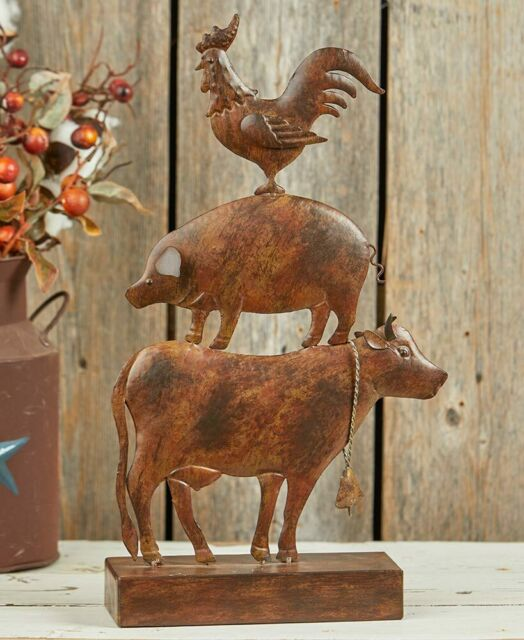 New Primitive Country LARGE COW PIG ROOSTER Stacked Farm Animal Figurine