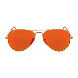 Ray Ban Aviator Classic RB 3025 112/69 Matte Gold Sunglasses Orange Flash 55mm