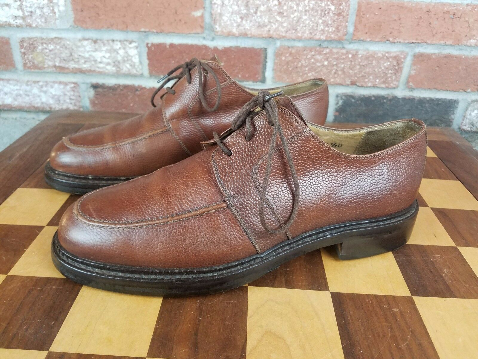 JOSEPH ABBOUD MEN'S TEXTURED BROWN CASUAL/DRESS OXFORD SHOES 8.5D ITALY APRON