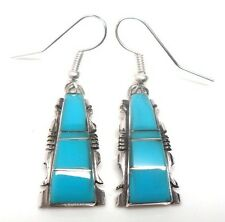 Navajo Turquoise inlay Sterling Silver French Hook Earrings -Steve Francisco