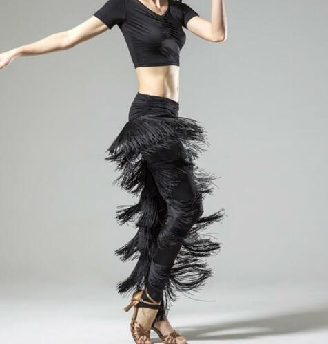 Lady Hot New Tassels Ballroom High Waist New Latin Dance Pants Trouser Black 18
