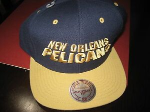 72fd3927 MENS MITCHELL & NESS NEW ORLEANS PELICANS SNAPBACK HAT CAP NAVY/GOLD ...