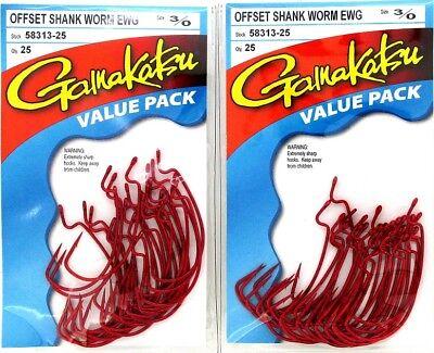 New Gamakatsu 1//0 Red Offset Shank Worm EWG Value Pack 25 Fish Hooks