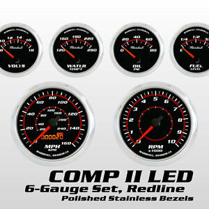 C2-Redline-6-Gauge-Set-Stainless-Bezels-73-10-Ohm-Fuel-Level-Gauge