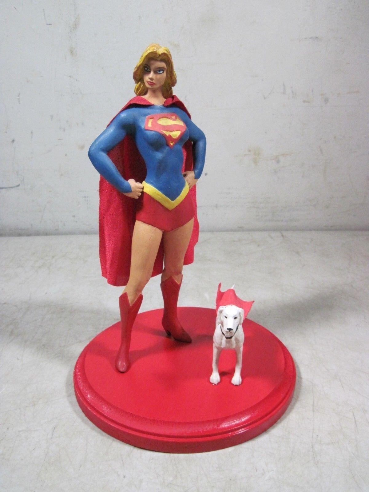 Vintage Supergirl & Superdog Statue Figures