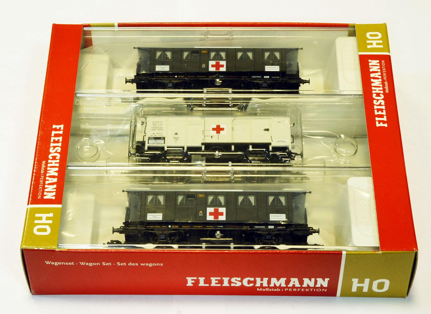 Fleischmann 581206 3 piece wagon hospital train of K.P.E.V..