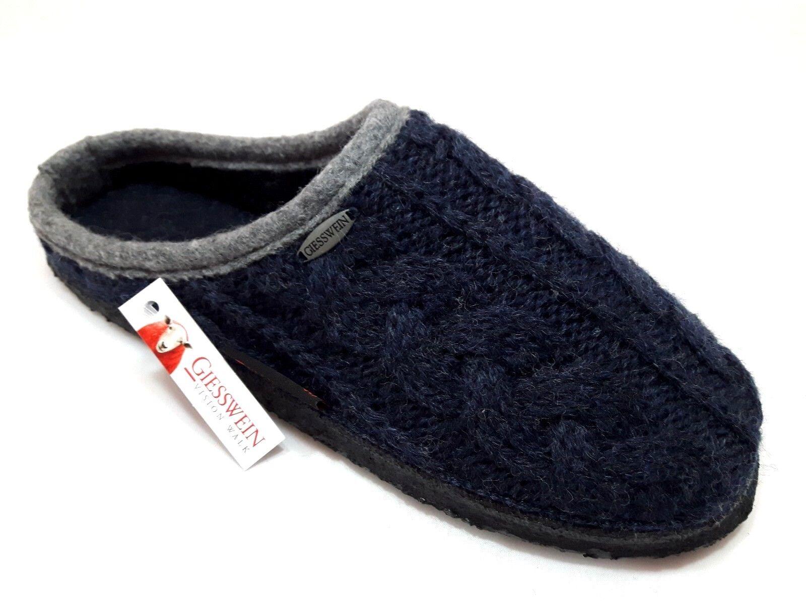 Ciabatte pantofole donna uomo uomo donna GIESSWEIN Neudau blu notte lana maglia treccia ca415a