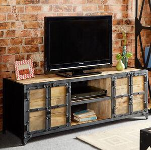 reclaimed industrial tv stand large metal furniture room. Black Bedroom Furniture Sets. Home Design Ideas
