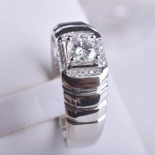Loose Moissanite 925 Sterling Silver Engagement Man/'s Ring 2.15 Ct I-J White