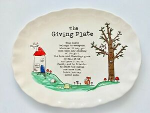 NATURAL-LIFE-Plate-GIVING-Oval-Platter-Hostess-Gift-Child-Drawing-Nature-NWT