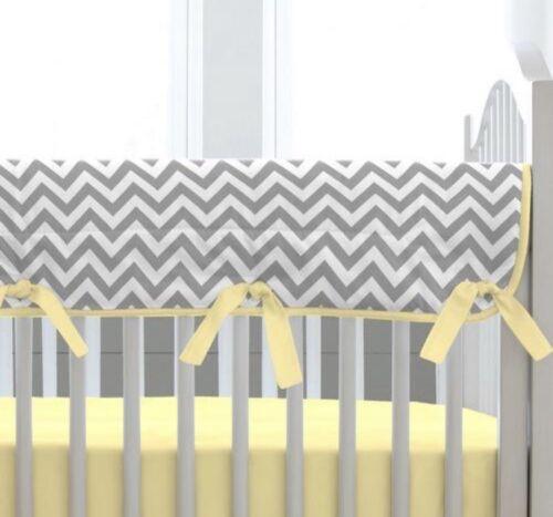 Carousel Designs Gray and Yellow Zig Zag Crib Rail Cover