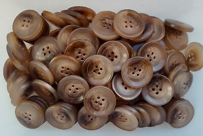 Large 25mm 40L Light Brown Camel Swirl Patterned 4 Hole Quality Buttons Z85