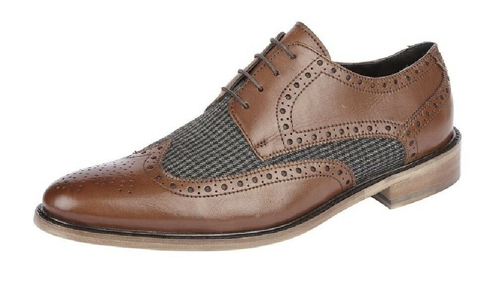 Mens Fashion Shoes Roamers Brogue Gibson Leather Shoes Brown/Grey